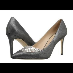 Tory Burch Silver Black Pewter Delphine 85mm Pumps